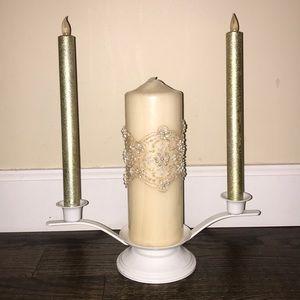 White Unity Candle Holder